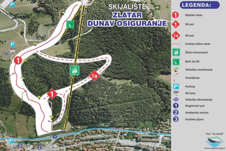 Mapa skijališta Zlatar