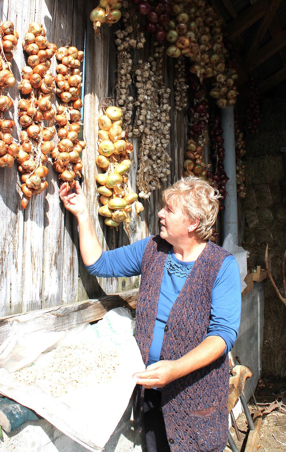 Семенке тикви и венце лука домаћица Славица суши испод настрешнице сеника